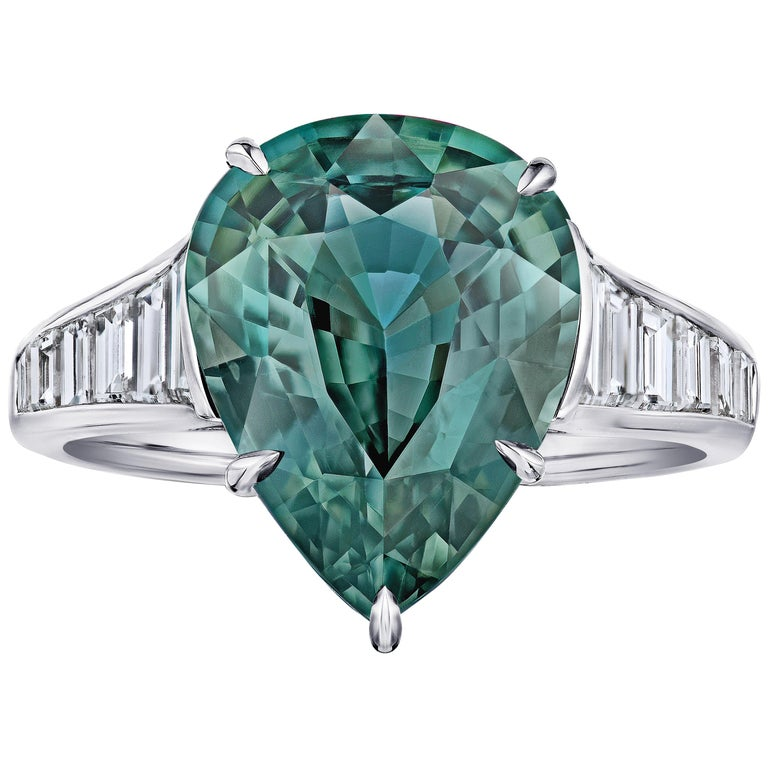 7.57 Carat Pear Shape Green Sapphire and Diamond Ring For Sale