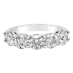 7.57 Carat Round Diamond Five-Stone Wedding Band