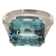 7.57ct Aquamarine & Diamond Platinum French Dress Ring
