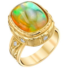 7.58 Carat Cushion Cut Opal and Diamond 18k Yellow Gold Bezel Set Ring