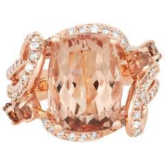 7.58 Carat Cushion Cut Pink Morganite, Andeluzite, & Diamond Ring 14 Karat Gold