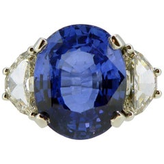 7.58 Carat Sapphire and Diamond Engagement Ring, New Handmade Platinum Setting
