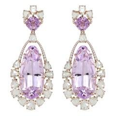 75.83 Carat Kunzite Diamond 18 Karat Gold Earrings