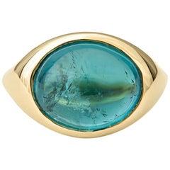 7.58 Carat Cabochon Teal Tourmaline in 14 Karat Yellow Gold Ring