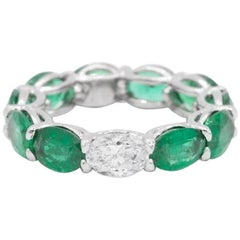 7.58ct Oval Shaped Emerald and Diamond Horizontally East West Eternity Band Ring