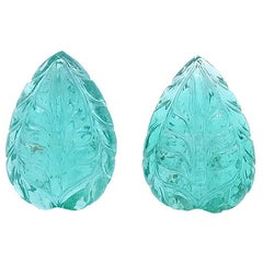 7.59 Carat Pear Shaped Carved Colombian Emerald Cabochon, Pair