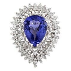 7.59 Carat Tanzanite 18 Karat White Gold Diamond Ring