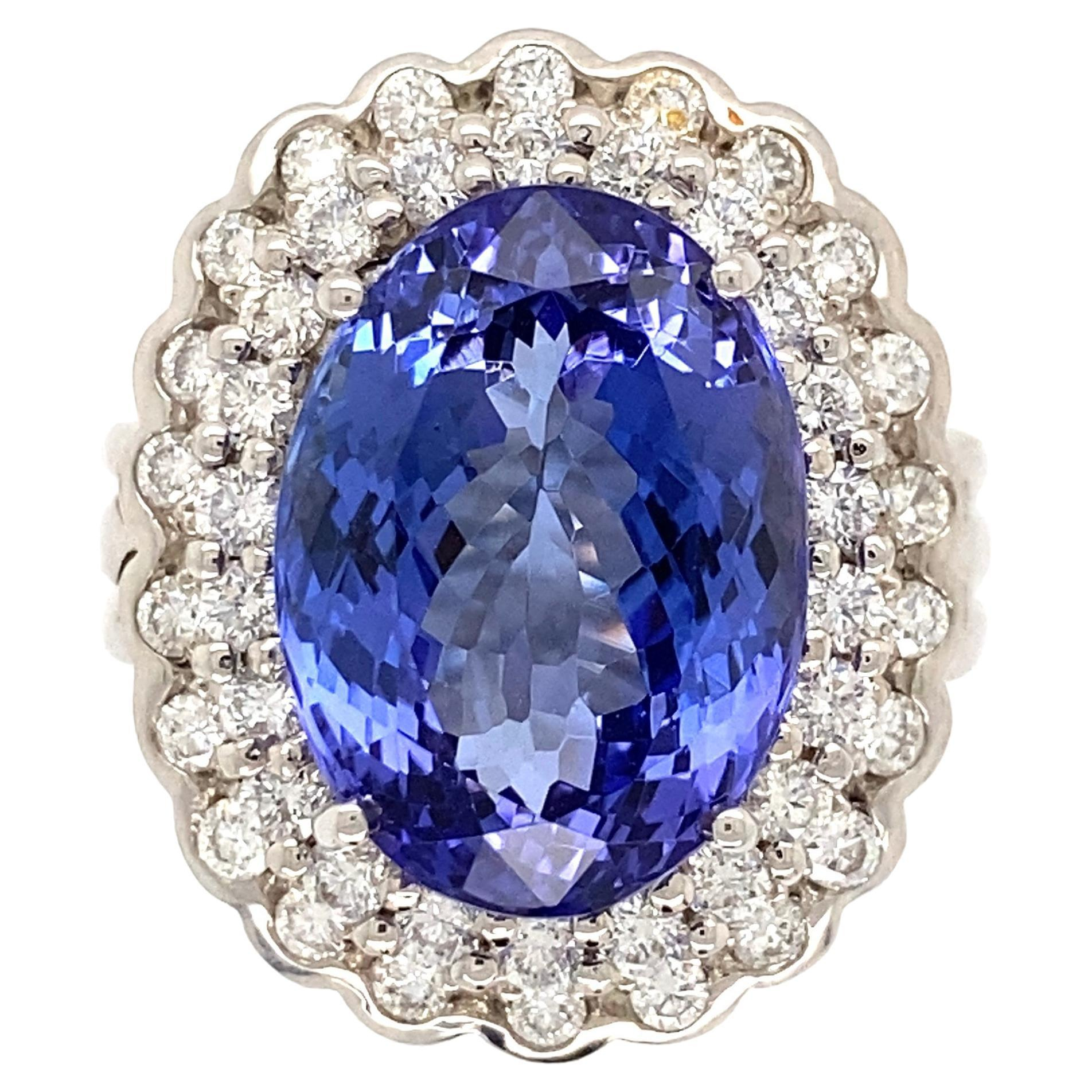 7.59 Carat Tanzanite and Diamond Gold Cocktail Ring Estate Fine Jewelry