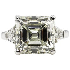 7.59 Carat Art Deco Style Asscher Diamond Wedding Platinum Ring EGL USA