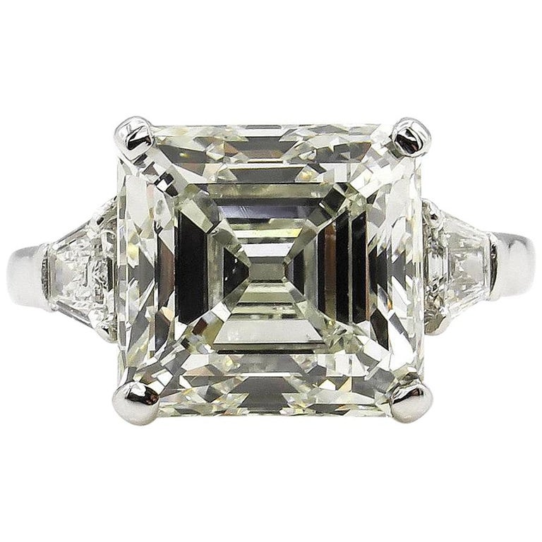 7.59 Carat Art Deco Style Asscher Diamond Wedding Platinum Ring EGL USA For Sale