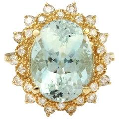 7.59 Carat Exquisite Natural Aquamarine and Diamond 14K Solid Yellow Gold Ring
