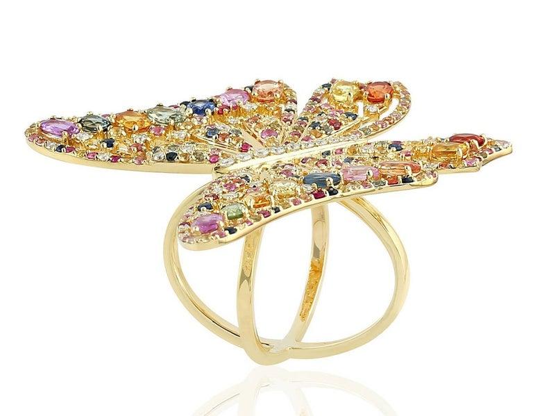 Mixed Cut 7.59 Carat Rainbow Sapphire Diamond Butterfly Ring 18 Karat Yellow Gold For Sale