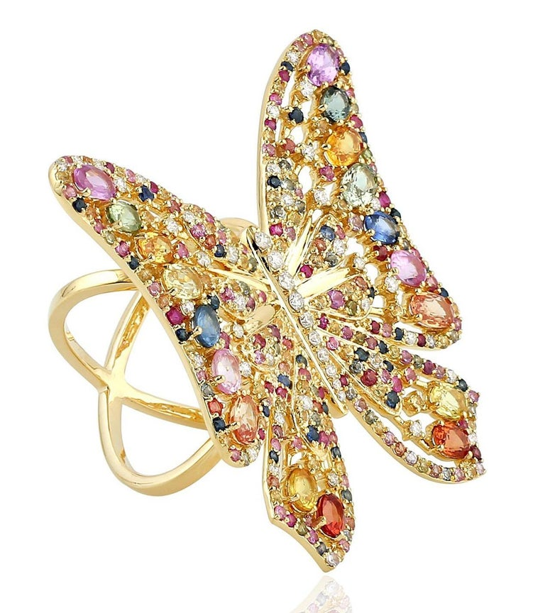 7.59 Carat Rainbow Sapphire Diamond Butterfly Ring 18 Karat Yellow Gold In New Condition For Sale In Hoffman Estate, IL