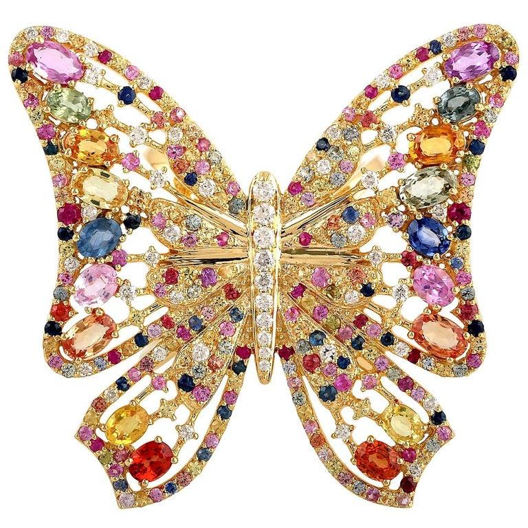 7.59 Carat Rainbow Sapphire Diamond Butterfly Ring 18 Karat Yellow Gold For Sale