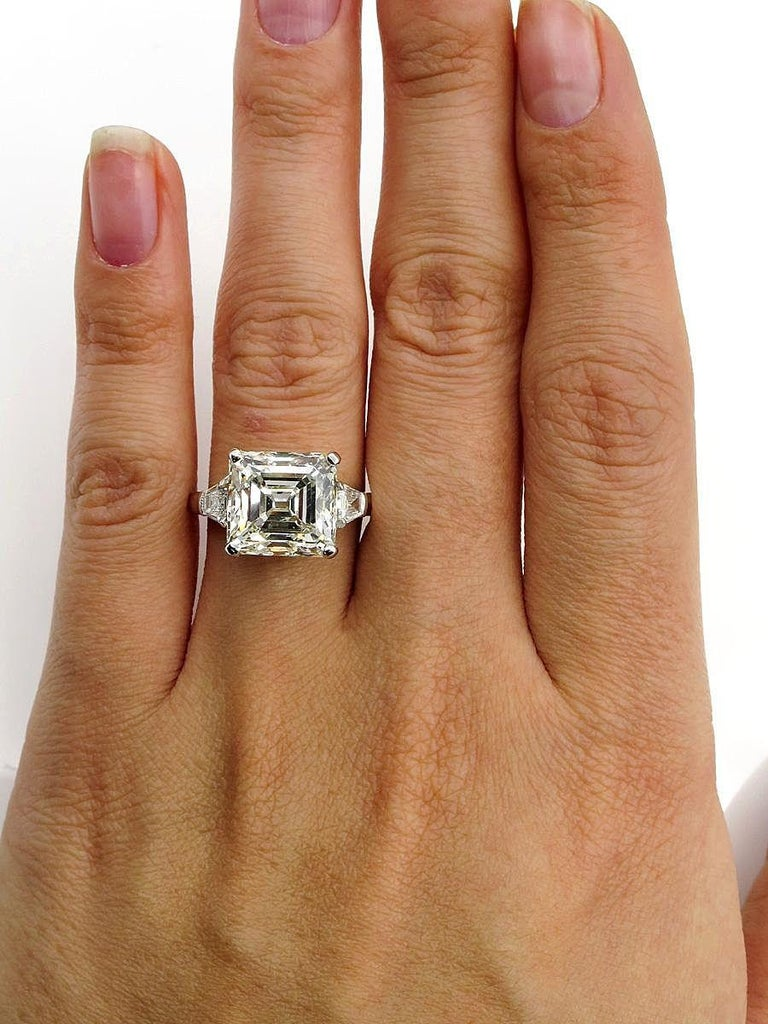 7.59 Carat Art Deco Style Asscher Diamond Wedding Platinum Ring EGL USA For Sale 5