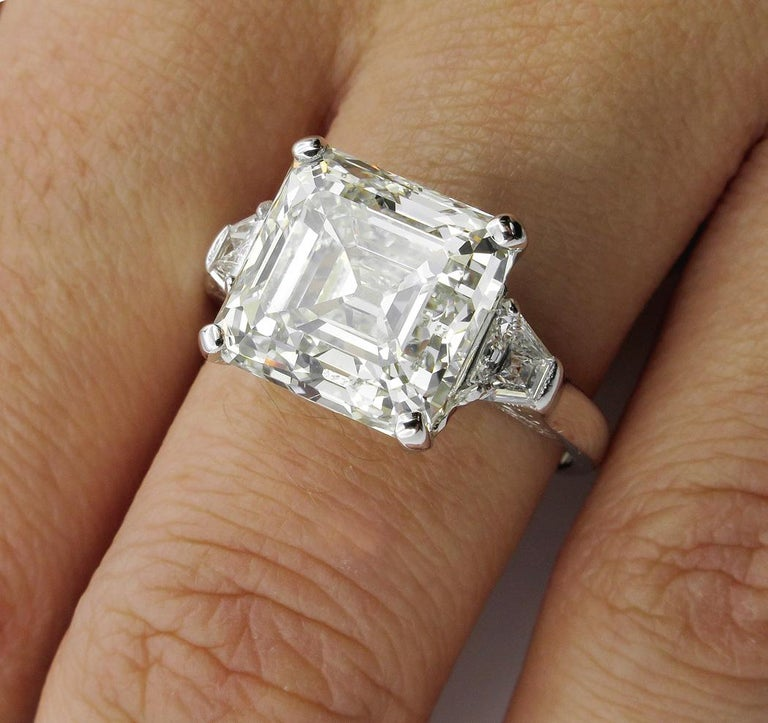 7.59 Carat Art Deco Style Asscher Diamond Wedding Platinum Ring EGL USA For Sale 6