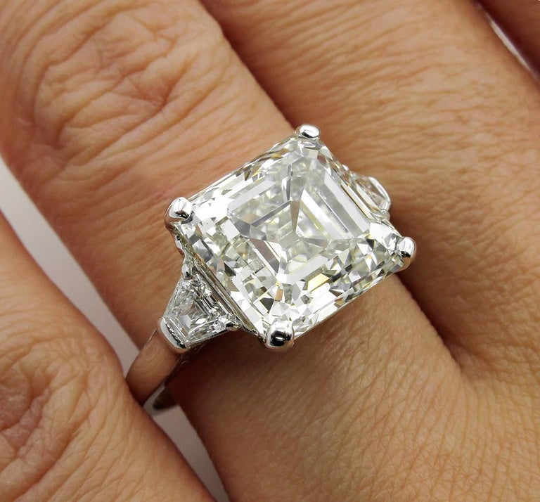 7.59 Carat Art Deco Style Asscher Diamond Wedding Platinum Ring EGL USA For Sale 7