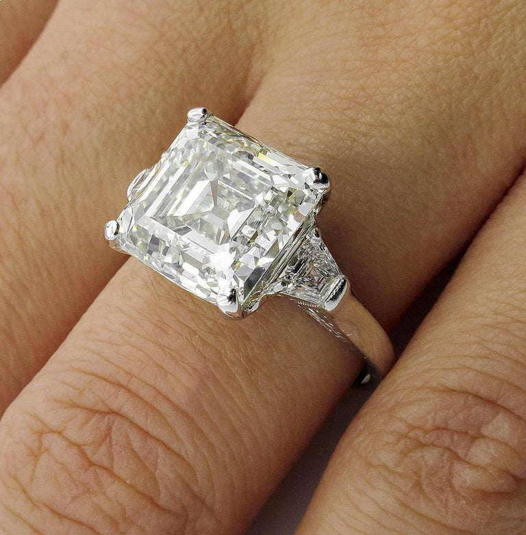 7.59 Carat Art Deco Style Asscher Diamond Wedding Platinum Ring EGL USA For Sale 8