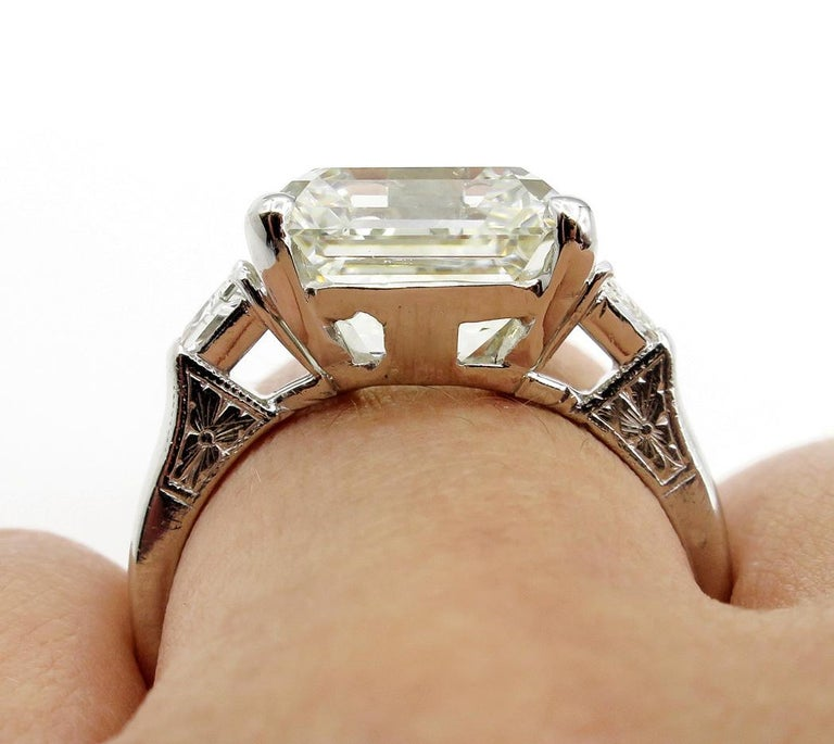 7.59 Carat Art Deco Style Asscher Diamond Wedding Platinum Ring EGL USA For Sale 9