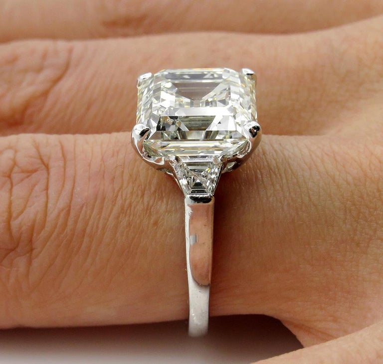 7.59 Carat Art Deco Style Asscher Diamond Wedding Platinum Ring EGL USA For Sale 10