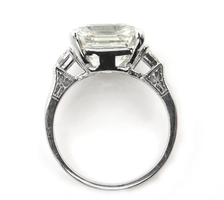 Women's 7.59 Carat Art Deco Style Asscher Diamond Wedding Platinum Ring EGL USA For Sale