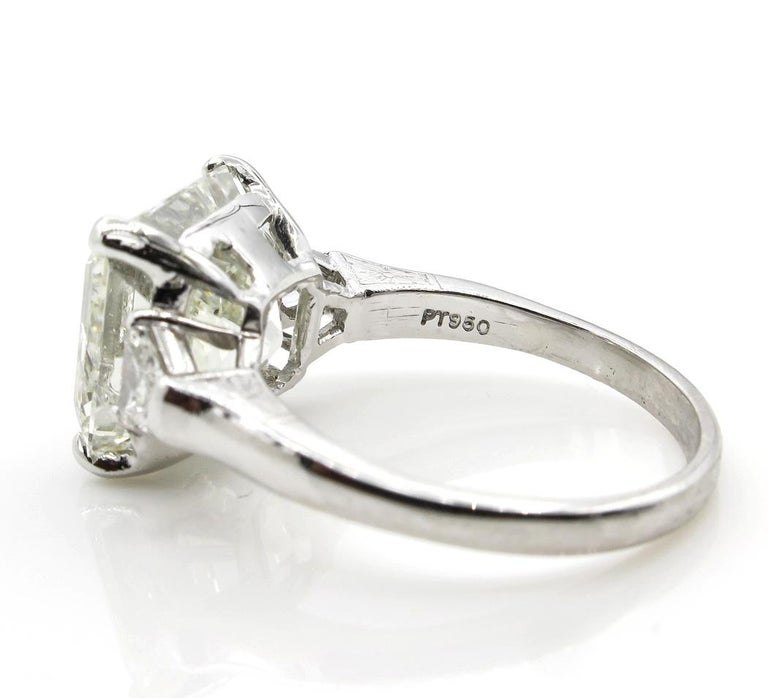 7.59 Carat Art Deco Style Asscher Diamond Wedding Platinum Ring EGL USA For Sale 1