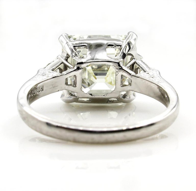 7.59 Carat Art Deco Style Asscher Diamond Wedding Platinum Ring EGL USA For Sale 2