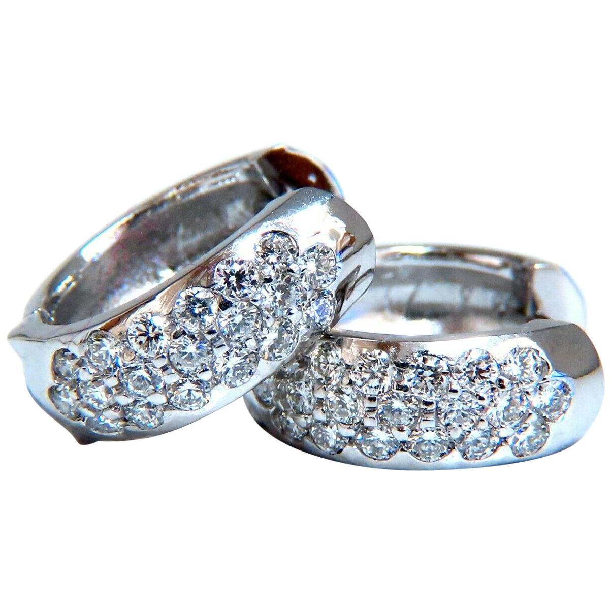 .75 Carat Natural Diamonds Huggie Hoop Earrings 14 Karat Gold