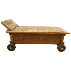 Bali Indonesian Primitive Jodang Chest Trunk Coffee Table Rice Day Bed Teak