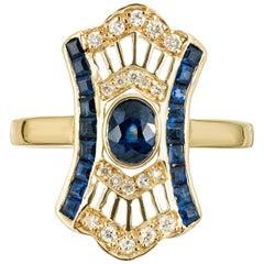 .76 Carat Blue Sapphire Diamond Yellow Gold Cocktail Ring