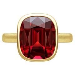 7.6 Carat Burgundy Rhodolite Garnet 18 Karat Matte Yellow Gold Ring