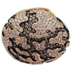 7.6 Carat Diamond 18 Karat Rose Gold Globe Ring