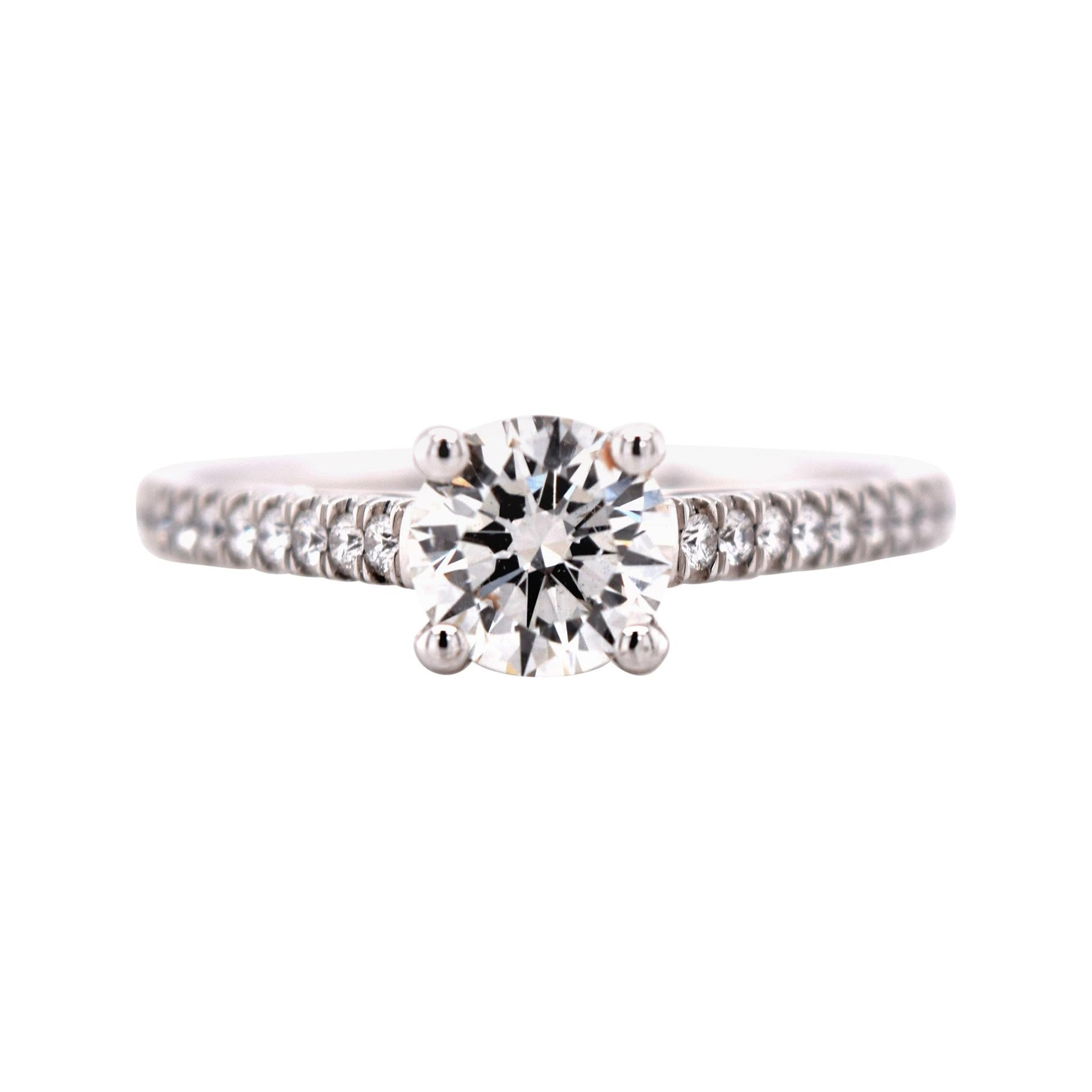 .76 Carat Diamond Solitaire Engagement Ring with Diamonds on the Shank