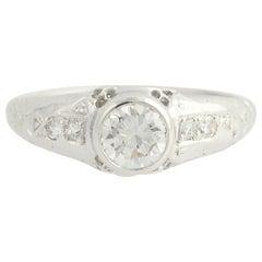 .76 Carat European Cut Diamond Art Deco Engagement Ring, 950 Palladium Vintage