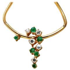 .76 Carat Natural Emeralds Diamonds Vine Snake Link Necklace 14 Karat