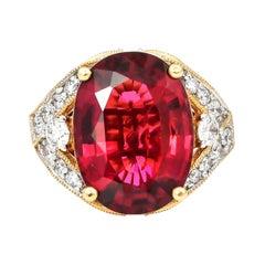 7.6 Carat Rubelite Tourmaline Ring with Diamond in 18 Karat Yellow Gold