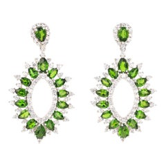 7.60 Carat Chrome Diopside White Topaz Silver Earrings