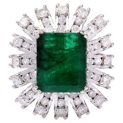 7.60 Carat Emerald 18 Karat Solid White Gold Diamond Ring