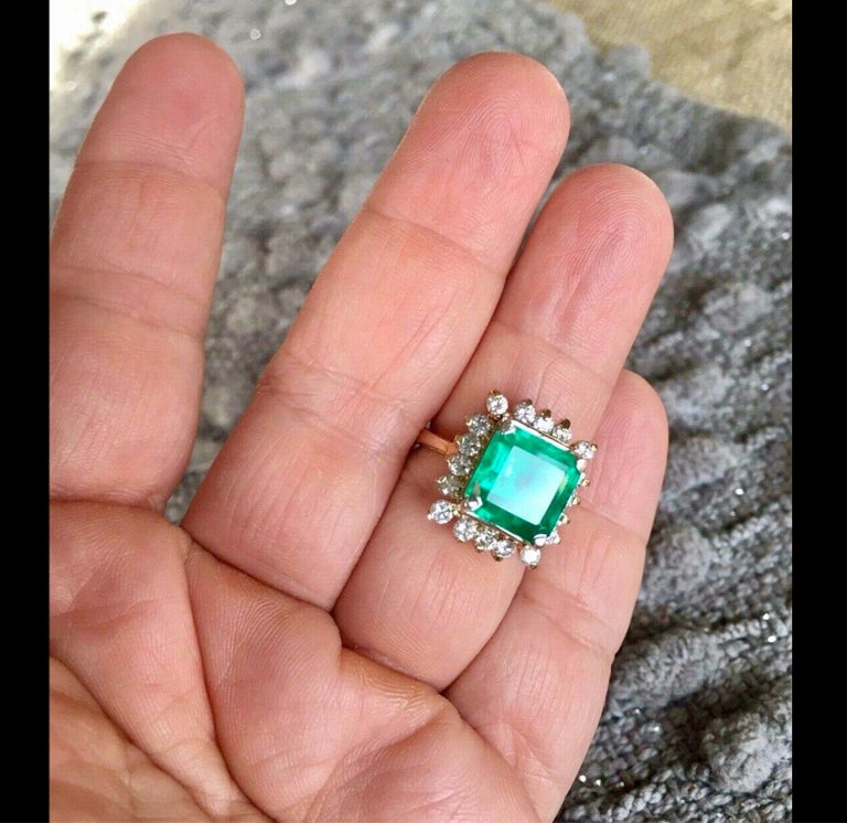 7.60 Carat Natural Colombian Emerald & Diamond Ring The Mounting is Custom Made of Solid 14K Yellow Gold Center with a Fine Natural Colombian Emerald Square Cut 6.50 Carat (10.17 x 10.17 x 8.58mm). Medium Green, Fully Saturated Very Good Clarity &