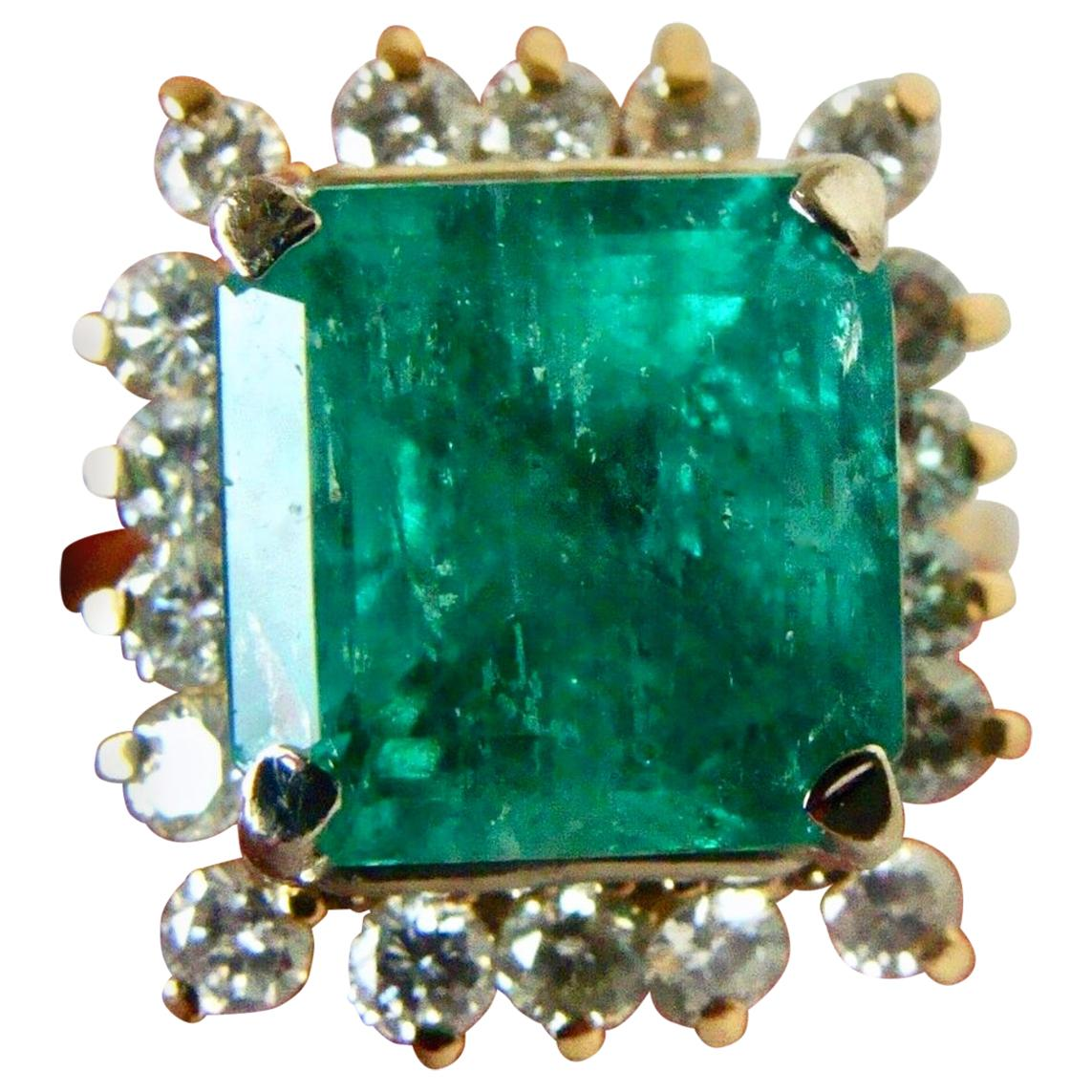 7.60 Carat Natural Colombian Emerald and Diamond Ring
