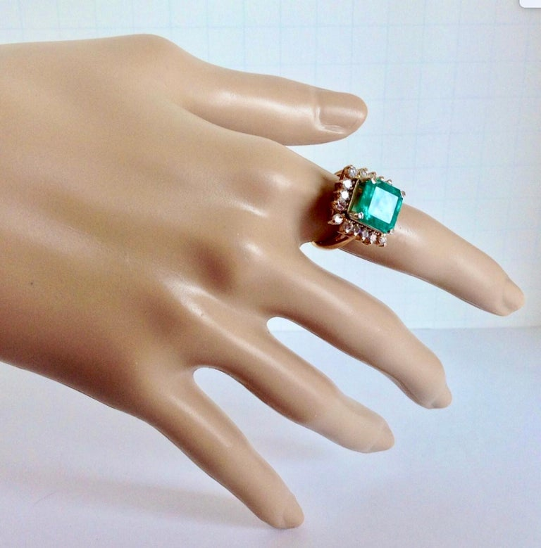 7.60 Carat Natural Colombian Emerald and Diamond Ring For Sale 5