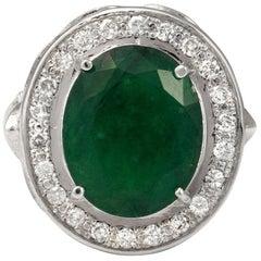 7.60 Carat Natural Emerald and Diamond 14 Karat Solid White Gold Ring