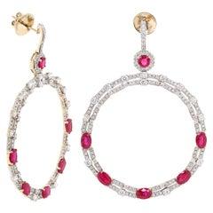 7.61 Carat Ruby Diamond 18 Karat Yellow Gold Hoop Earring
