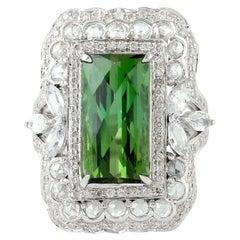 7.61 Carat Tourmaline Diamond 18 Karat Gold Ring