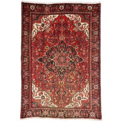 Vintage Persian Heriz Rug with English Tudor Manor House Style