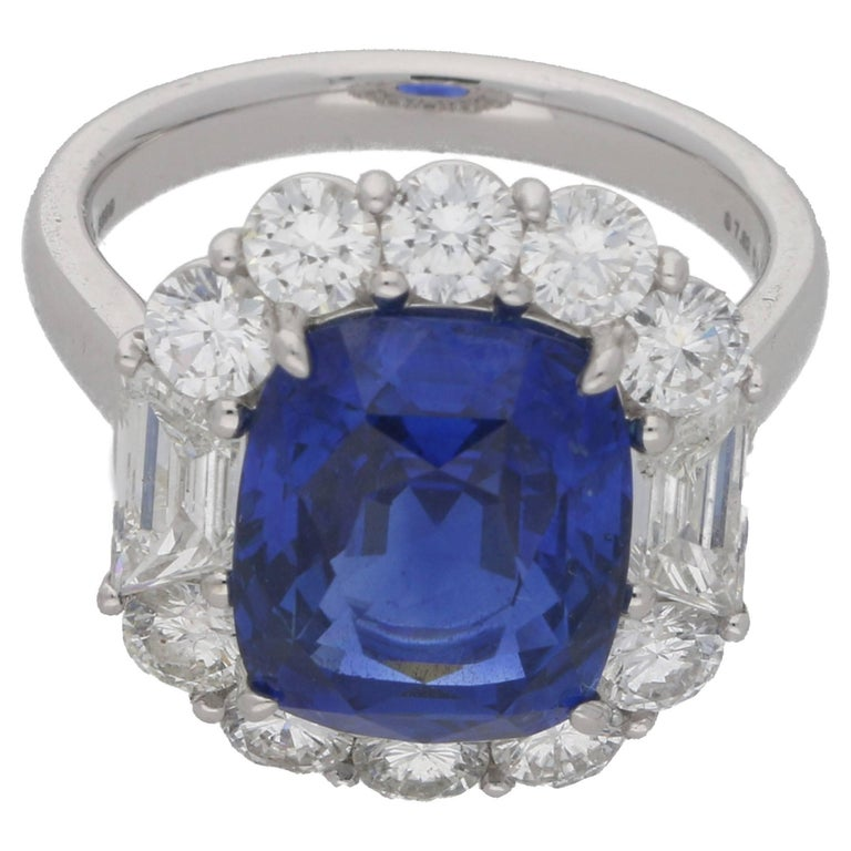 7.62 Carat Sapphire Diamond Cluster Ring For Sale