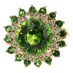 7.63 Carat Peridot Tsavorite Diamond 14 Karat Yellow Cocktail Ring