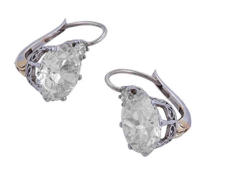 7 64 Carat Diamond Platinum Two Stone Earrings For Sale At
