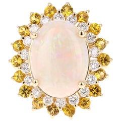 7.64 Carat Opal Yellow Sapphire and Diamond 14 Karat Yellow Gold Cocktail Ring