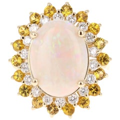 7.64 Carat Opal Yellow Sapphire and Diamond 14 Karat Yellow Gold Cocktail Ring